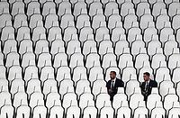 Calcio, Serie A: Juventus - Sampdoria, Turin, Allianz Stadium, July 26, 2020.<br /> Juventus' Giorgio Chiellini (l) and Mattia De Sciglio (r) looks at the Italian Serie A football match between Juventus and - Sampdoria at the Allianz stadium in Turin, July 26, 2020.<br /> UPDATE IMAGES PRESS/Isabella Bonotto