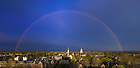 April 12, 2021; Rainbow over campus (Photo by Matt Cashore/University of Notre Dame)
