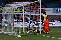 20th February 2021; Dens Park, Dundee, Scotland; Scottish Championship Football, Dundee FC versus Queen of the South; Controversy as the referee Barry Cook disallows a close range effort and goal from Osman Sow of Dundee