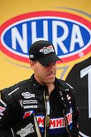 Sept. 16, 2011; Concord, NC, USA: NHRA pro stock  driver Jason Line during qualifying for the O'Reilly Auto Parts Nationals at zMax Dragway. Mandatory Credit: Mark J. Rebilas-US PRESSWIRE