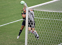 LA Sol's Brittany Bock battles Sky Blue goalkeeper Jenn Branam during the WPS Championship match. The Sky Blue FC defeated the LA Sol 1-0 to win the WPS Final Championship match at Home Depot Center stadium in Carson, California on Saturday, August 22, 2009...