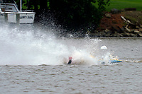 Frame 23: 300-P comes together with 911-Q, turns away and then is ejected from the boat.   (Outboard Hydroplanes)
