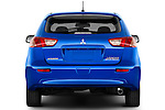 Straight rear view of a 2015 Mitsubishi Lancer  Sportback 5 Door Hatchback stock images