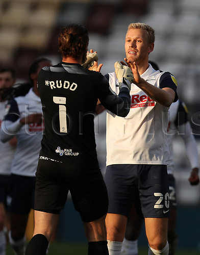 31st October 2020; Deepdale Stadium, Preston, Lancashire, England; English Football League Championship Football, Preston North End versus Birmingham City; Jayden Stockley of Preston North End celebrates with team mate Declan Rudd after scoring in the 24th minute to level the score at 1-1