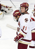 Pat Mullane (BC - 11) - The Boston College Eagles defeated the Merrimack College Warriors 4-3 on Friday, October 30, 2009, at Conte Forum in Chestnut Hill, Massachusetts.