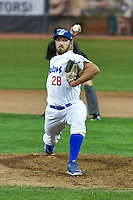 Sven Schuller (28) of the Ogden Raptors delivers a pitch to the plate against the Orem Owlz in Pioneer League action at Lindquist Field on September 9, 2016 in Ogden, Utah. This was Game 1 of the Southern Division playoff. Orem defeated Ogden 6-5. (Stephen Smith/Four Seam Images)