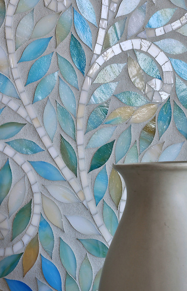 Climbing Vine, a jewel glass waterjet mosaic, is shown in Quartz and Aquamarine, is part of the Silk Road® collection by New Ravenna.