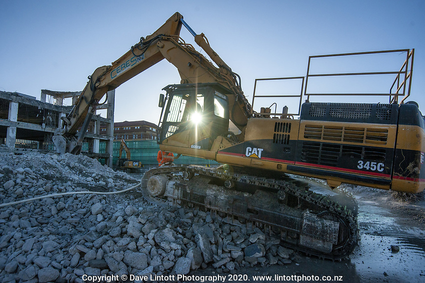 BNZ building demoltion site. CentrePort in Wellington, New Zealand on Tuesday, 15 September 2020. Photo: Dave Lintott / lintottphoto.co.nz