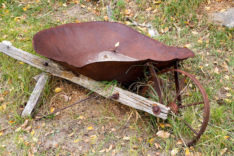 Old wheel barrel broken in Historic Nevada City, Montana