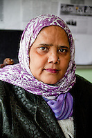 Dehradun, Uttarakhand, India.  Muslim Indian Woman, Director of the Tasmia Academy, teaching sewing and related skills to young women.