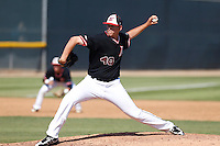 Jerry Keel #40 of the Cal State Northridge Matadors pitches against the UC Santa Barbara Gauchos at Matador Field on May 10, 2013 in Northridge, California. UC Santa Barbara defeated Cal State Northridge, 6-1. (Larry Goren/Four Seam Images)