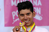 TUNJA - COLOMBIA- 21- 02-2016: Edwin Avila nuevo Campeón Nacional de Ciclismo con la prueba ruta individual categoría elite hombres que se corrió entre las ciudades de Sogamoso y Tunja en una distancia 174,6 km kilometros de Los Campeonato Nacionales de Ciclismo 2016, que se realizan en Boyaca. / Edwin Avila new National Cycling Champion of the Elite test individual route men that was conducted between the towns of Sogamoso and Tunja at a distance of 174,6 km of the National Cycling Championships 2016 performed in Boyaca. / Photo: VizzorImage / Cesar Melgarejo / Cont.