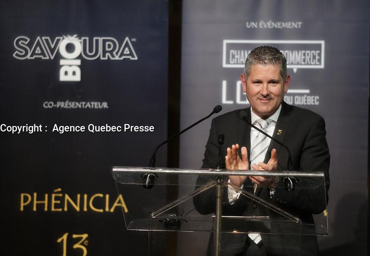 Martin Thibodeau<br />  honore lors du<br /> 13 ieme Gala Phenicia , 25 mai 2017<br /> <br /> PHOTO : Agence Quebec Presse