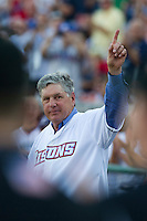 New York Mets Hall of Fame pitcher Tom Seaver waves to the crowd before throwing out the first pitch during the Triple-A All-Star Game Coca-Cola Field on July 11, 2012 in Buffalo, New York.  The Pacific Coast League defeated the International League 3-0.  (Mike Janes/Four Seam Images via AP Images)