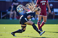 South Carolina goalkeeper Sabrina D'Angelo (34) puts the ball in play during NCAA soccer game, Sunday, October 26, 2014 in College Station, Tex. South Carolina draw 2-2 against Texas A&M in double overtime. (Mo Khursheed/TFV Media via AP Images)
