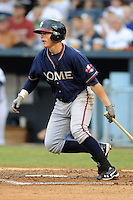 Rome Braves second baseman Brandon Drury #2 swings at a pitch during a game against the Asheville Tourists at McCormick Field on June 23, 2012 in Asheville, North Carolina.  The Braves defeated the Tourists 4-2. (Tony Farlow/Four Seam Images).