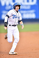 Asheville Tourists center fielder Will Golsan (8) runs to third base during a game against the Augusta GreenJackets at McCormick Field on April 5, 2019 in Asheville, North Carolina. The  Tourists defeated the GreenJackets 5-0. (Tony Farlow/Four Seam Images)