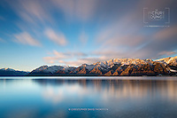 A stunning long exposure shot taken at Lake Hawea in the early winter by Wanaka fine art landscape photographer Christopher David Thompson.