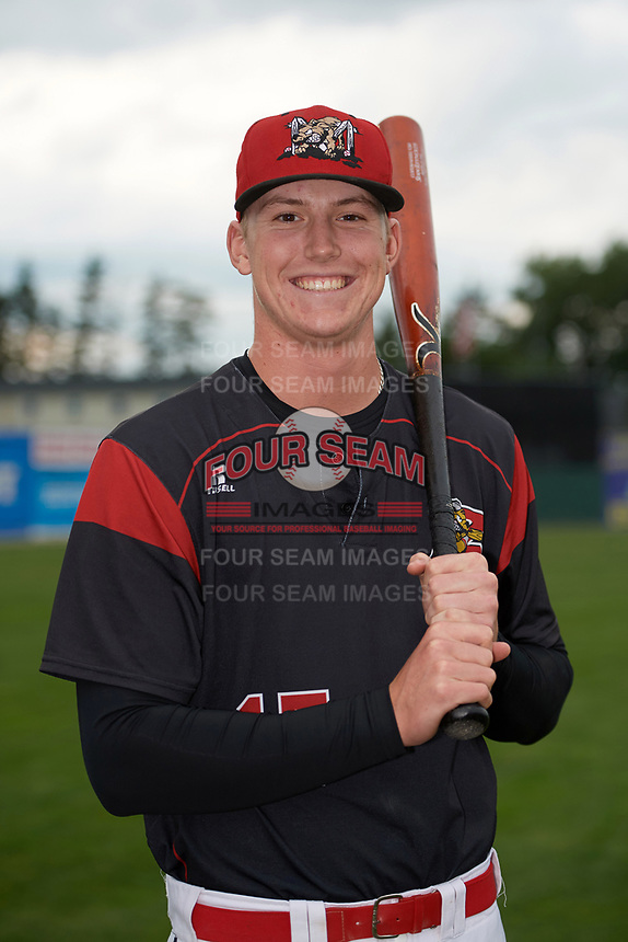 Batavia Muckdogs Sean Reynolds (15) poses for a photo before a game against the Auburn Doubledays on September 6, 2017 at Dwyer Stadium in Batavia, New York.  Auburn defeated Batavia 6-3.  (Mike Janes/Four Seam Images)