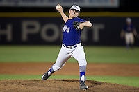 High Point Panthers relief pitcher Gage Rogers (12) delivers a pitch to the plate against the Davidson Wildcats at Willard Stadium on March 21, 2015 in High Point, North Carolina.  The Panthers defeated the Wildcats 15-2.  (Brian Westerholt/Four Seam Images)
