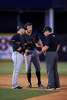 Bradenton Marauders center fielder Casey Hughston (17) talks with an umpire during a game against the Tampa Yankees on April 15, 2017 at George M. Steinbrenner Field in Tampa, Florida.  Tampa defeated Bradenton 3-2.  (Mike Janes/Four Seam Images)