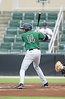 Rafael Rodriguez (14) of the Augusta GreenJackets at bat against the Kannapolis Intimidators at CMC-NorthEast Stadium on July 31, 2014 in Kannapolis, North Carolina.  The Intimidators defeated the GreenJackets 4-3.  (Brian Westerholt/Four Seam Images)