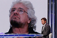Former deputy of Movement 5 Stars and writer Alessandro Di Battista appears as a guest on the talk show Porta a Porta to present his new book 'Contro'. In the background, on the screen, Beppe Grillo.<br /> Rome (Italy), May 25th 2021<br /> Photo Samantha Zucchi Insidefoto