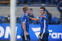 SAN JOSE, CA - MAY 1: Jackson Yueill #14 of the San Jose Earthquakes celebrates scoring with Shea Salinas #6 during a game between D.C. United and San Jose Earthquakes at PayPal Park on May 1, 2021 in San Jose, California.