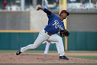 Frisco RoughRiders pitcher Emmanuel Clase (31) during a Texas League game against the Springfield Cardinals on May 5, 2019 at Dr Pepper Ballpark in Frisco, Texas.  (Mike Augustin/Four Seam Images)