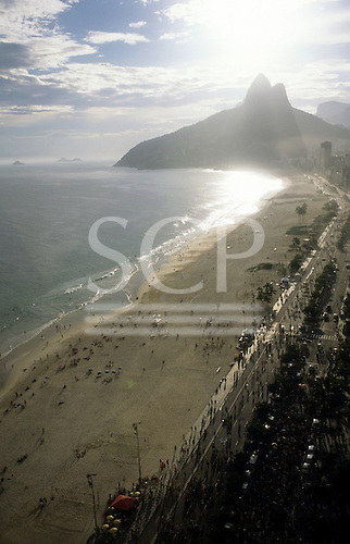 Rio de Janeiro, Brazil. High overview of Ipanema and Leblon beaches with the Dois Irmaos (Two Brothers) hillock.