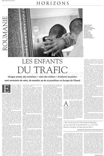 FRANCE. .Publication in the newspaper Le Monde about children trafficking..Photograph by Bruno Cogez..Parution dans le journal Le Monde du reportage sur les Enfants du Trafic..Photographie de Bruno Cogez.