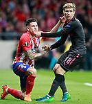 Atletico de Madrid's Jose Maria Gimenez (l) and Arsenal FC's Nacho Monreal during Europa League Semi-finals, 2ndt leg. May 3,2018. (ALTERPHOTOS/Acero)