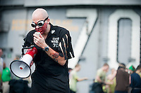 """Crossing the line ceremony AKA """"Wog Day"""" aboard USS Carl Vinson (CVN 70) as the ship crosses the equator and international date lines simultaneously. All who participated were made """"Golden Shellbacks."""""""
