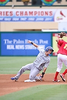 Joc Pederson of Team Israel sliding into 2nd base during a game against Team Spain during the World Baseball Classic preliminary round at Roger Dean Stadium on September 21, 2012 in Jupiter, Florida. Team Israel defeated Team Spain 4-2. (Stacy Jo Grant/Four Seam Images)