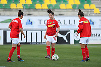 20190227 - LARNACA , CYPRUS : Austrian players with Jasmin Eder (middle) pictured during warming up of a women's soccer game between the Super Falcons of Nigeria and Austria , on Wednesday 27 February 2019 at the AEK Arena in Larnaca , Cyprus . This is the first game in group C for both teams during the Cyprus Womens Cup 2019 , a prestigious women soccer tournament as a preparation on the Uefa Women's Euro 2021 qualification duels. PHOTO SPORTPIX.BE | DAVID CATRY