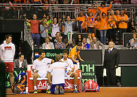 September 13, 2014, Netherlands, Amsterdam, Ziggo Dome, Davis Cup Netherlands-Croatia, Doubles, Haase/Rojer on the Dutch bench, supporters in the background<br /> Photo: Tennisimages/Henk Koster