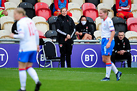 Jayne Ludlow coach of Wales Women's shouts instructions to her team from the dug-out during the UEFA Women's EURO 2022 Qualifier match between Wales Women and Faroe Islands Women at Rodney Parade in Newport, Wales, UK. Thursday 22 October 2020