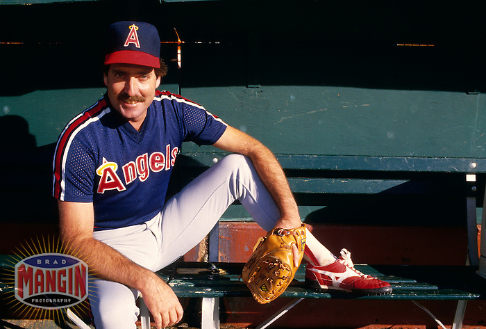 OAKLAND, CA - Greg Minton of the California Angels poses for a portrait in the bullpen before a game against the Oakland Athletics at the Oakland Coliseum in Oakland, California in 1987.  Photo by Brad Mangin