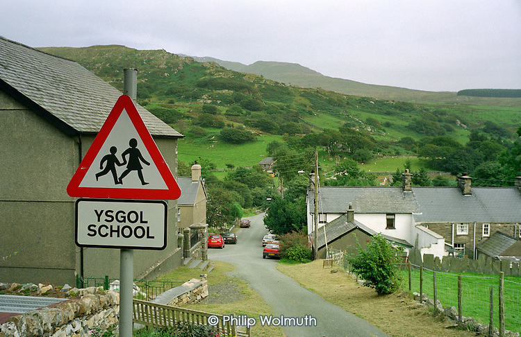 Welsh language school sign in the village of Croesor in the Snowdonia National Park.