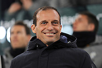 Calcio, quarti di finale di Tim Cup: Juventus vs Milan. Torino, Juventus Stadium, 25 gennaio 2017.<br /> Juventus coach Massimiliano Allegri smiles prior to the start of the Italian Cup quarter finals football match between Juventus and AC Milan at Turin's Juventus stadium, 25 January 2017.<br /> UPDATE IMAGES PRESS/Manuela Viganti