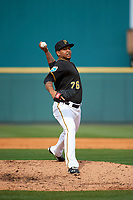 Pittsburgh Pirates pitcher Kelvin Marte (76) delivers a pitch during a Spring Training game against the Toronto Blue Jays  on March 3, 2016 at McKechnie Field in Bradenton, Florida.  Toronto defeated Pittsburgh 10-8.  (Mike Janes/Four Seam Images)