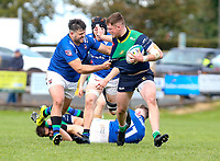 Saturday 10th October 2020 | Ballynahinch vs Queens<br /> <br /> Zac Ward is tackled by Alexander Clarke during the Energia Community Series clash between Ballynahinch and Queens at Ballymacarn Park, Ballynahinch, County Down, Northern Ireland. Photo by John Dickson / Dicksondigital