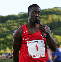 Tuesday 15th July 2014<br /> Pictured: Christian Malcolm<br /> RE: Welsh sprinter Christian Malcolm, looking emotional and tearful after running his last race on home soil at the Welsh Athletics International in the Cardiff International Sports Stadium, South Wales, UK.