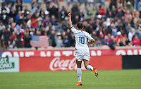 Houston, TX - Sunday April 8, 2018: Carli Lloyd celebrates her 100th career goal during an International friendly match versus the women's National teams of the United States (USA) and Mexico (MEX) at BBVA Compass Stadium.