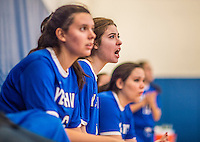 27 October 2013: Yeshiva University Maccabee Setter Shana Wolfstein, a Junior from Burlington, VT, cheers her teammates on during a game against the College of Mount Saint Vincent Dolphins at the College of Mount Saint Vincent in Riverdale, NY. The Dolphins defeated the Maccabees 3-0 in NCAA women's volleyball play. Mandatory Credit: Ed Wolfstein Photo *** RAW (NEF) Image File Available ***