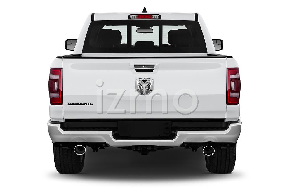 Straight rear view of a 2019 Ram 1500 Crew Cab Laramie Short Box 4x2 4 Door Pick Up stock images