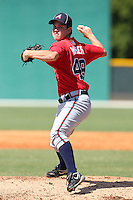 Atlanta Braves pitcher Ryan Weber #49 during an Instructional League game against the Pittsburgh Pirates at Pirate City on October 14, 2011 in Bradenton, Florida.  (Mike Janes/Four Seam Images)