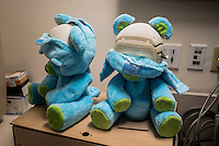 'Huggable' Bears sit in an empty room at Boston's Children Hospital in Boston, Massachusetts.  Huggable is a social robotic protoype that is being used in an experiment between Boston's Childen Hospital and the Massachusetts Institute of Technology (MIT). The goal of the experiment is to determine whether the robot can have therapeutic value for children who have to endure long hospital stays. The bear's talking and movements are remotely controlled by Hospital Staff from outside of the room.