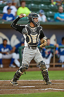 Joel Diaz (5) catcher of the Grand Junction Rockies on defense against the Ogden Raptors in Pioneer League action at Lindquist Field on August 25, 2016 in Ogden, Utah. The Rockies defeated the Raptors 12-3. (Stephen Smith/Four Seam Images)