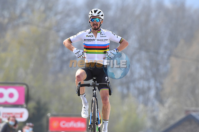 World Champion Julian Alaphilippe (FRA) Deceuninck-Quick Step wins on the final climb of the Mur de Huy at the end of the 2021 Flèche-Wallonne, running 193.6km from Charleroi to Huy, Belgium. 21st April 221.  <br /> Picture: Serge Waldbillig | Cyclefile<br /> <br /> All photos usage must carry mandatory copyright credit (© Cyclefile | Serge Waldbillig)